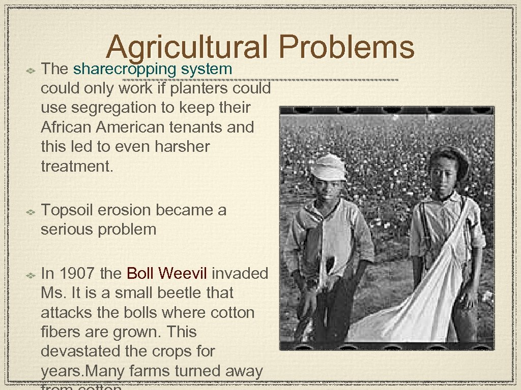 Agricultural Problems The sharecropping system could only work if planters could use segregation to