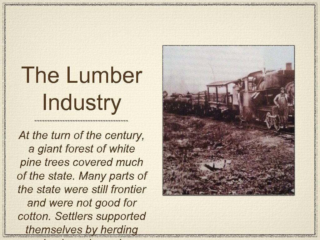 The Lumber Industry At the turn of the century, a giant forest of white