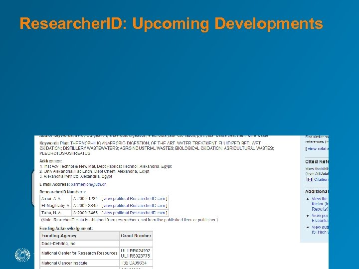 Researcher. ID: Upcoming Developments