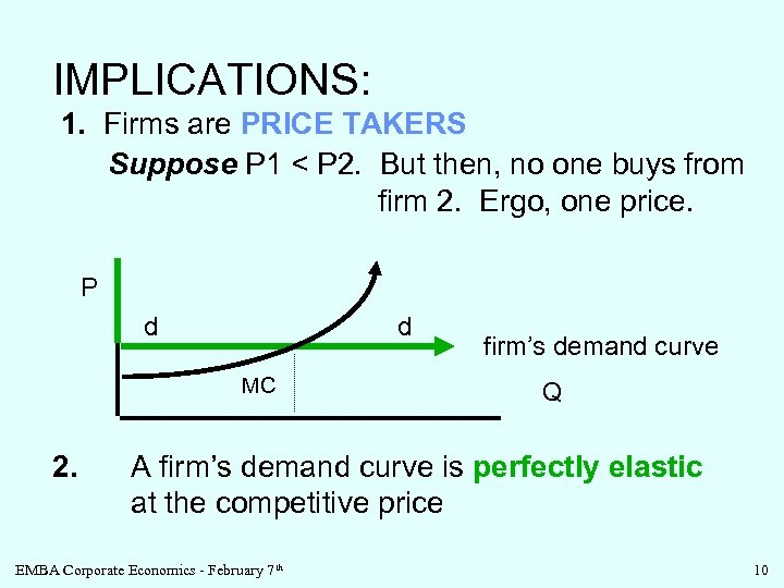 IMPLICATIONS: 1. Firms are PRICE TAKERS Suppose P 1 < P 2. But then,