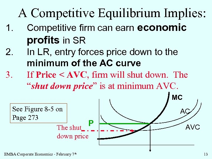 A Competitive Equilibrium Implies: 1. 2. 3. Competitive firm can earn economic profits in
