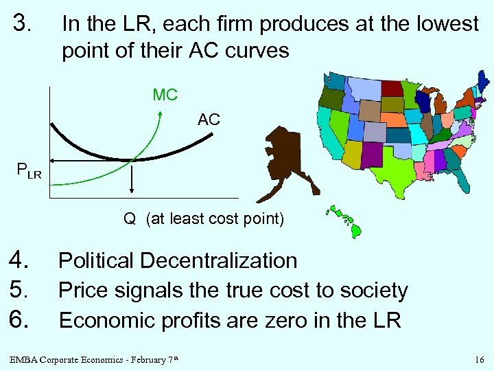3. In the LR, each firm produces at the lowest point of their AC