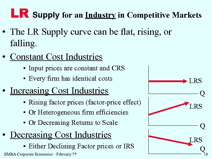 LR Supply for an Industry in Competitive Markets • The LR Supply curve can