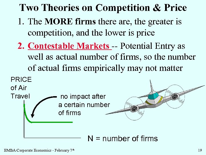 Two Theories on Competition & Price 1. The MORE firms there are, the greater