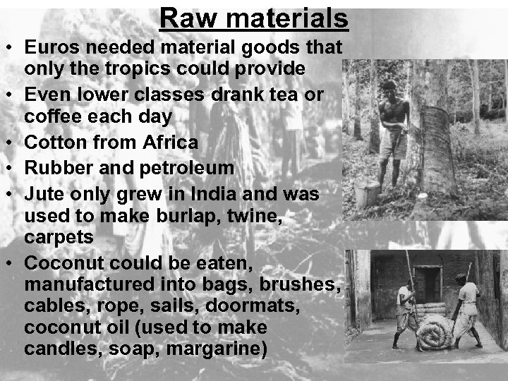 Raw materials • Euros needed material goods that only the tropics could provide •