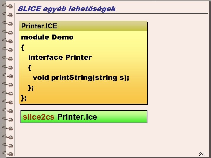 SLICE egyéb lehetőségek Printer. ICE module Demo { interface Printer { void print. String(string