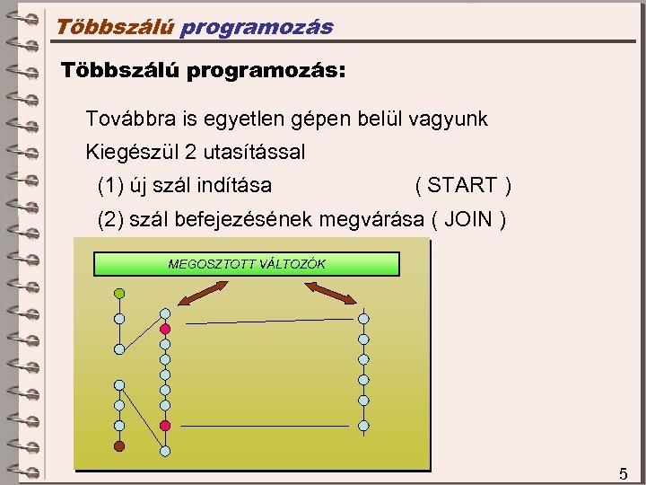 Többszálú programozás: Továbbra is egyetlen gépen belül vagyunk Kiegészül 2 utasítással (1) új szál