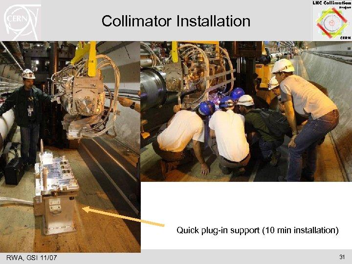 Collimator Installation Quick plug-in support (10 min installation) RWA, GSI 11/07 31