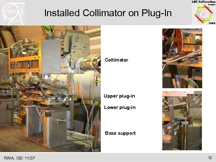 Installed Collimator on Plug-In Collimator Upper plug-in Lower plug-in Base support RWA, GSI 11/07