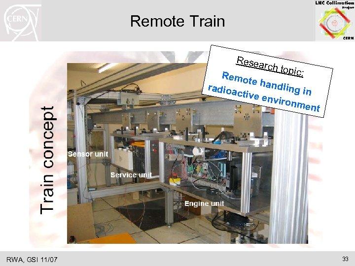Remote Train Resea rch top ic: Remo te han dling radioa in ctive e
