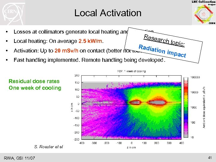Local Activation • Losses at collimators generate local heating and activation. • Local heating: