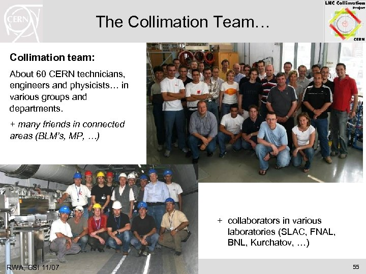 The Collimation Team… Collimation team: About 60 CERN technicians, engineers and physicists… in various