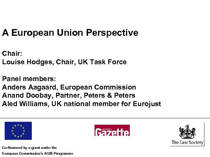 A European Union Perspective Chair: Louise Hodges, Chair, UK Task Force Panel members: Anders