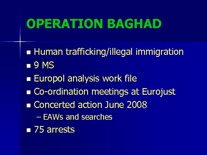 OPERATION BAGHAD Human trafficking/illegal immigration n 9 MS n Europol analysis work file n