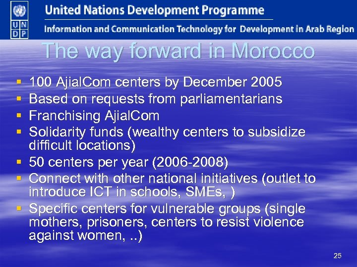 The way forward in Morocco § § 100 Ajial. Com centers by December 2005