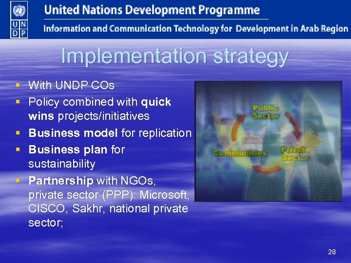 Implementation strategy § With UNDP COs § Policy combined with quick wins projects/initiatives §