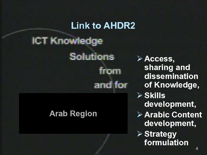 Link to AHDR 2 Arab Region Ø Access, sharing and dissemination of Knowledge, Ø