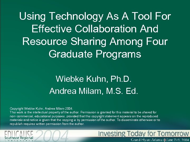 Using Technology As A Tool For Effective Collaboration And Resource Sharing Among Four Graduate