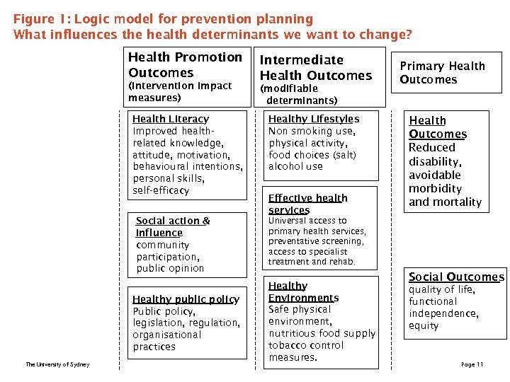 Figure 1: Logic model for prevention planning What influences the health determinants we want