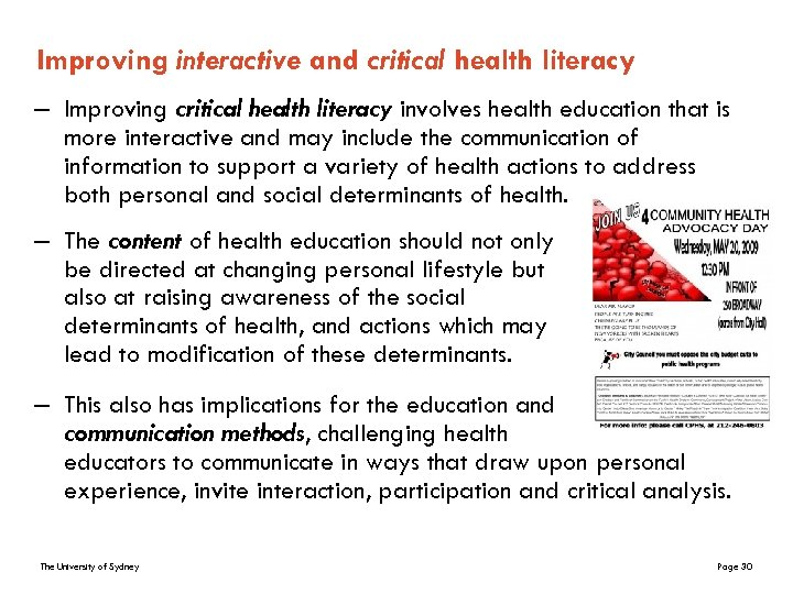 Improving interactive and critical health literacy – Improving critical health literacy involves health education
