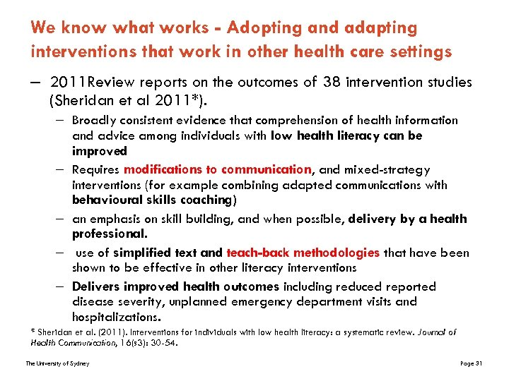 We know what works - Adopting and adapting interventions that work in other health