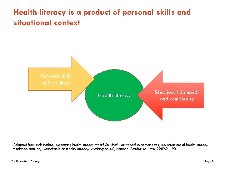 Health literacy is a product of personal skills and situational context Personal skills and