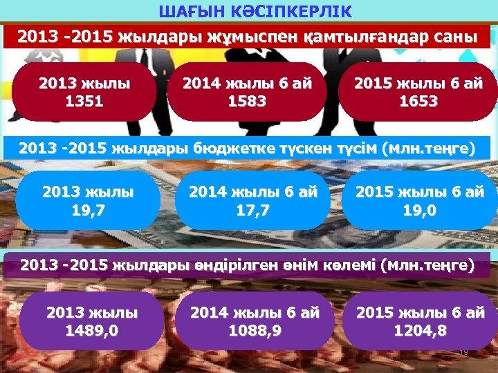ШАҒЫН КӘСІПКЕРЛІК 2013 -2015 жылдары жұмыспен қамтылғандар саны 2013 жылы 1351 2014 жылы 6