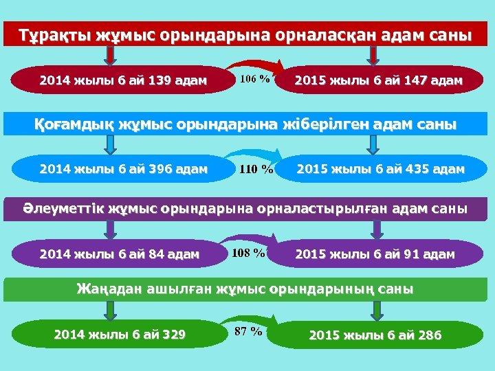 Тұрақты жұмыс орындарына орналасқан адам саны 2014 жылы 6 ай 139 адам 106 %