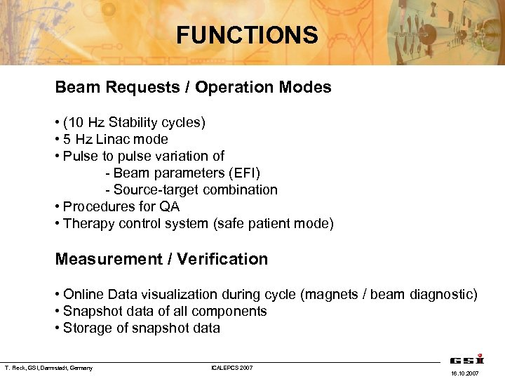 FUNCTIONS Beam Requests / Operation Modes • (10 Hz Stability cycles) • 5 Hz