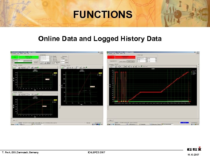 FUNCTIONS Online Data and Logged History Data T. Fleck, GSI, Darmstadt, Germany ICALEPCS 2007