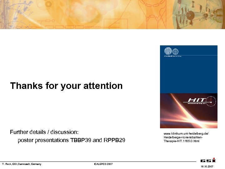Thanks for your attention Further details / discussion: poster presentations TBBP 39 and RPPB