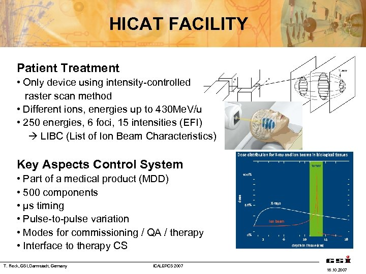 HICAT FACILITY Patient Treatment • Only device using intensity-controlled raster scan method • Different
