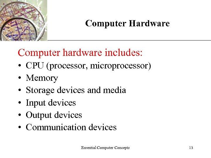 Computer Hardware XP Computer hardware includes: • • • CPU (processor, microprocessor) Memory Storage
