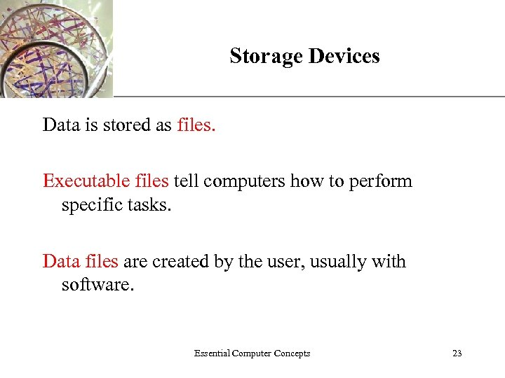 Storage Devices XP Data is stored as files. Executable files tell computers how to