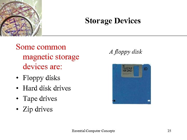 Storage Devices Some common magnetic storage devices are: • • XP A floppy disk