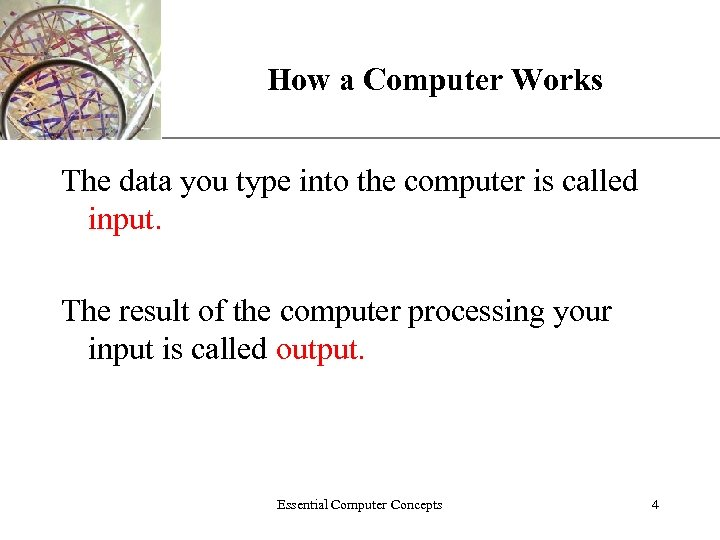 How a Computer Works XP The data you type into the computer is called