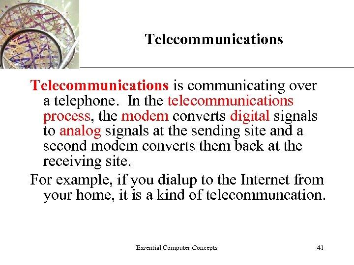 Telecommunications XP Telecommunications is communicating over a telephone. In the telecommunications process, the modem