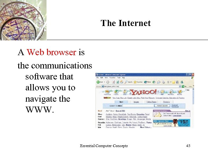 The Internet XP A Web browser is the communications software that allows you to