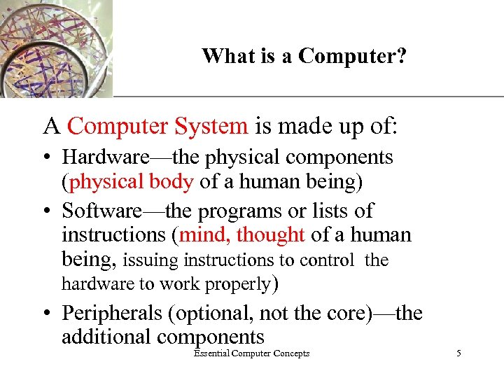 What is a Computer? XP A Computer System is made up of: • Hardware—the