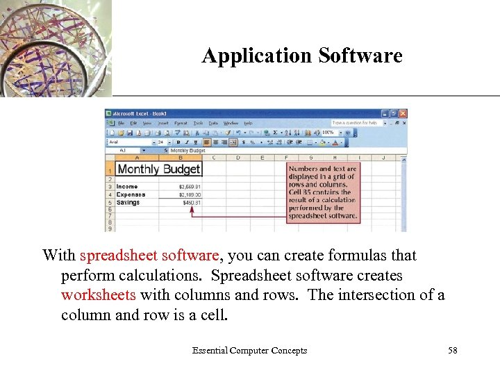 Application Software XP With spreadsheet software, you can create formulas that perform calculations. Spreadsheet