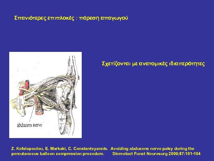 Σπανιότερες επιπλοκές : πάρεση απαγωγού Σχετίζονται με ανατομικές ιδιαιτερότητες Z. Kefalopoulou, E. Markaki, C.