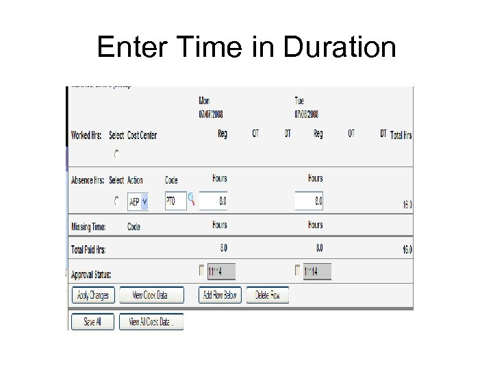 Enter Time in Duration