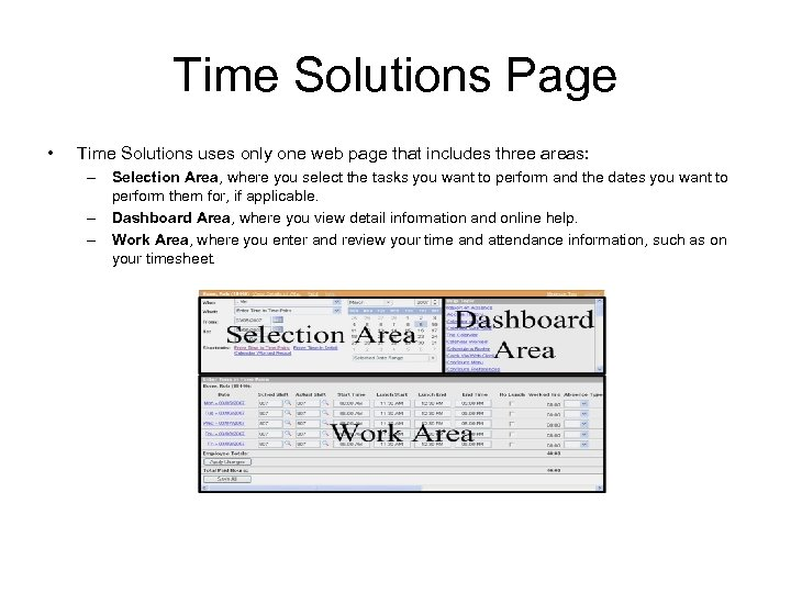 Time Solutions Page • Time Solutions uses only one web page that includes three