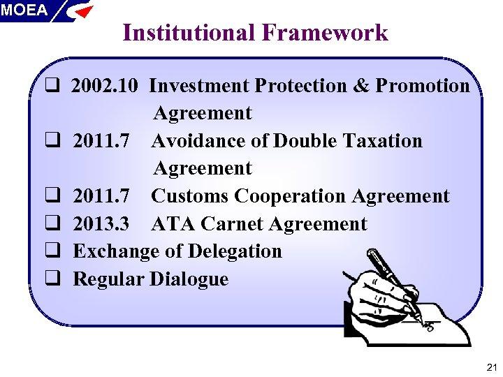MOEA Institutional Framework q 2002. 10 Investment Protection & Promotion q q q Agreement