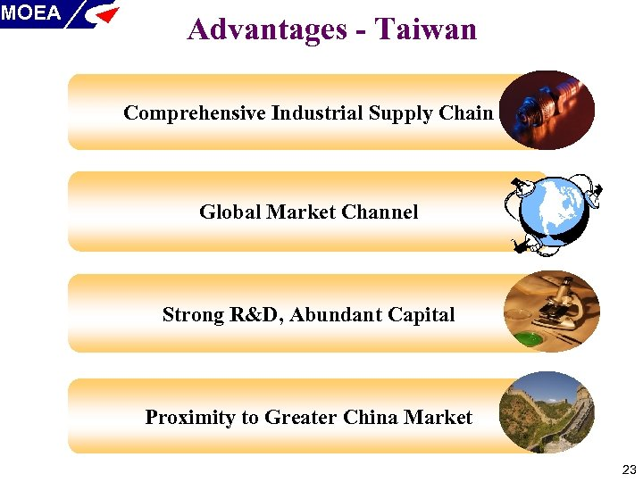 MOEA Advantages - Taiwan Comprehensive Industrial Supply Chain Global Market Channel Strong R&D, Abundant