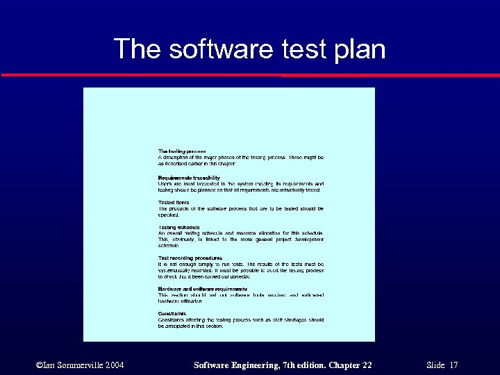 The software test plan ©Ian Sommerville 2004 Software Engineering, 7 th edition. Chapter 22