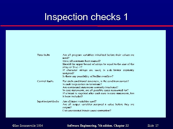 Inspection checks 1 ©Ian Sommerville 2004 Software Engineering, 7 th edition. Chapter 22 Slide