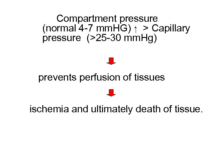 Compartment pressure (normal 4 -7 mm. HG) ↑ > Capillary pressure (>25 -30 mm.