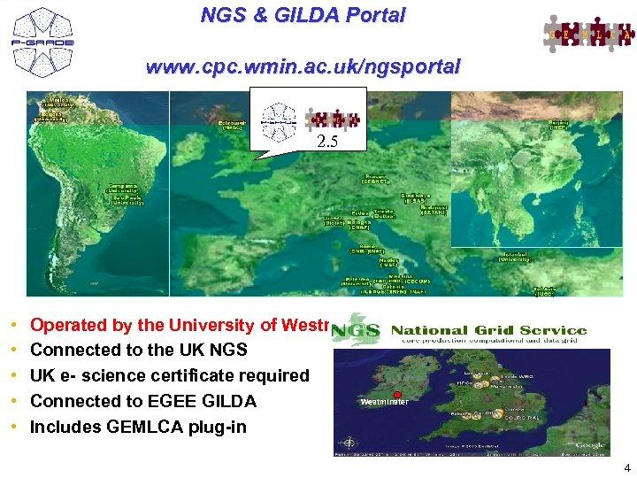 NGS & GILDA Portal www. cpc. wmin. ac. uk/ngsportal 2. 5 • • •