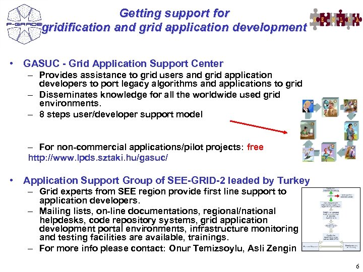 Getting support for gridification and grid application development • GASUC - Grid Application Support
